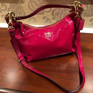 Hot Pink Coach double strap hobo bag